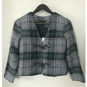 English Factory Tweed Plaid Jacket with Toggle NWT